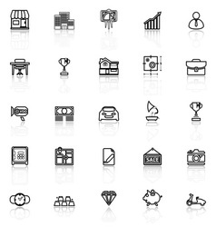 Asset and property line icons with reflect on vector