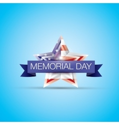 Memorial day with star in national flag colors vector