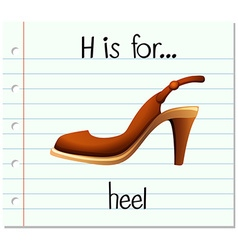 Flashcard letter h is for heel vector