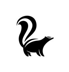 Skunk logo Black flat color simple elegant skunk vector image