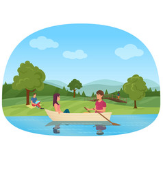 a couple swimming on boat in the pond in the park vector image vector image