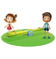 A girl and a boy near the seesaw vector image vector image