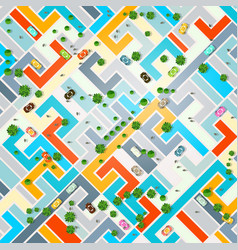 abstract city top view town with cars trees and vector image