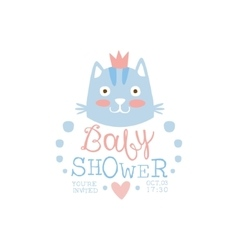 Baby shower invitation design template with cat vector