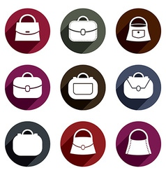 Bag icons set of 9 examples fashion theme symbols vector