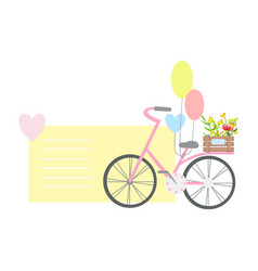 bicycle with balloons and plants on backseat vector image vector image