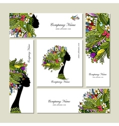 Business cards tropical girl for your design vector image vector image