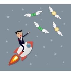 Businessman flying catch money vector
