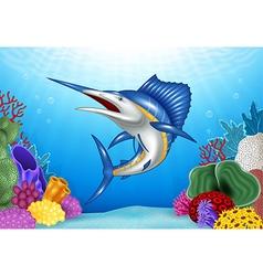 Cartoon blue marlin with coral reef underwater vector