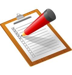 Checklist with pencil white backgroun vector