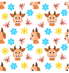 cows and flowers and butterflies seamless pattern vector image vector image
