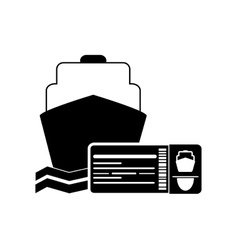 Cruise ship and boarding pass icon vector