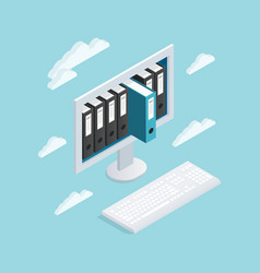 documents cloud isometric composition vector image vector image