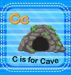 Flashcard letter c is for cave vector
