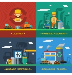 Garbage removal 2x2 design concept vector
