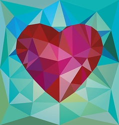 Low poly red heart vector image