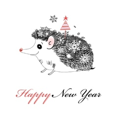 Merry Christmas hedgehog vector image