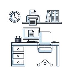 office workspace desk chair pc printer clock vector image
