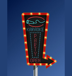 Retro arrow light banner karaoke vector