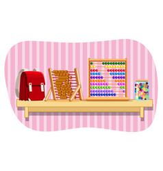 schoolbag and abacus on shelf vector image