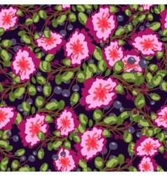 Seamless pattern of small bouquets pink flowers vector