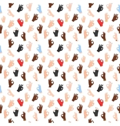 Seamless pattern with ok hand gestures vector