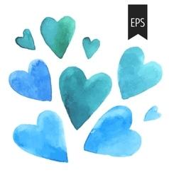 Set of blue watercolor hearts vector