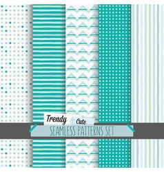 Set of cute white and blue seamless patterns set vector image vector image