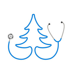 Stethoscope in shape of tree in blue design vector