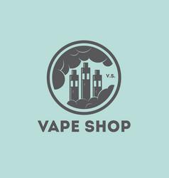 Vape shop logo vaporizer clouds factory vector