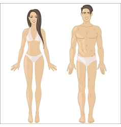 White woman and man in underwear vector image vector image