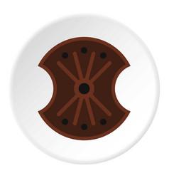 Wooden shield icon circle vector