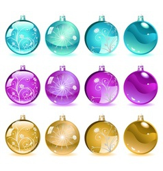 Multicolored christmas balls set 4 of 4 vector