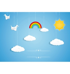 Rainbow clouds birds and sun toys vector image