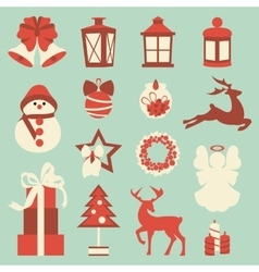 Collection of colorful christmas elements and vector