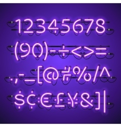 Glowing neon violet numbers vector