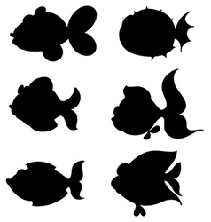 Silhouettes of fishes vector