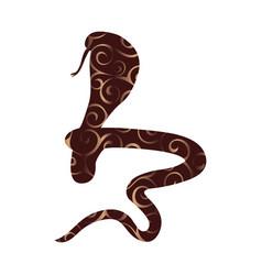 Cobra snake reptile color silhouette animal vector