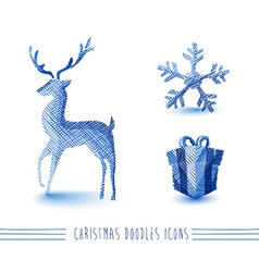 Merry christmas blue sketch style elements set vector