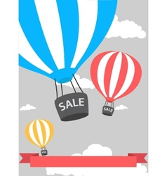 Hot air balloon poster with sale vector