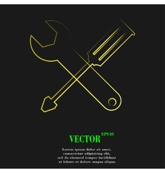 Screwdriver wrench icon symbol flat modern web vector