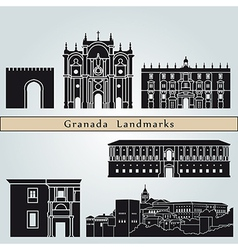 Granada landmarks and monuments vector