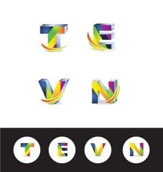 3d letter logo icon alphabet vector image
