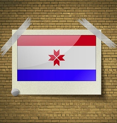 Flags mordoviaat frame on a brick background vector