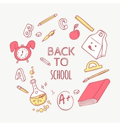 Back to school doodle objects background hand vector