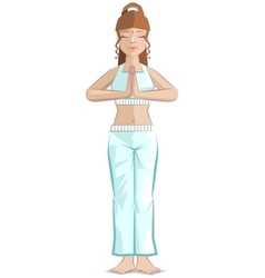Girl yoga pose mountain vector
