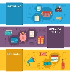 Three horizontal banners with shopping icons in vector