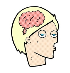 Comic cartoon head with brain symbol vector