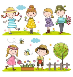 Collection of happy kids outdoor in spring season vector