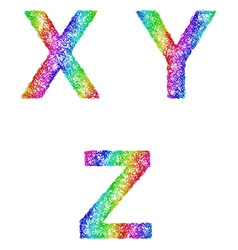 Rainbow sketch font set - letters x y z vector